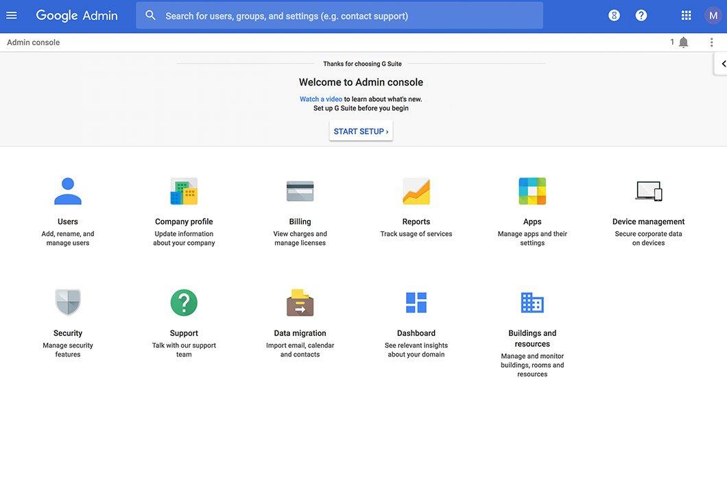 Google G Suite Admin Console